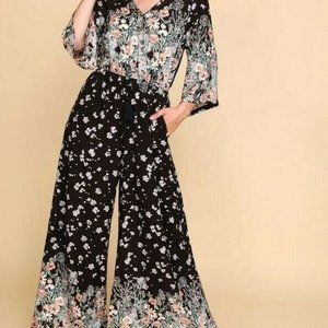 Bluheaven By Umgee Jumpsuit Floral Wide Leg